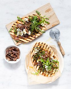 BILTONG AND FIG  FLATBREAD - Fire up the braai and these gourmet pizzas will be on the table faster than a delivery order. Serves: 6