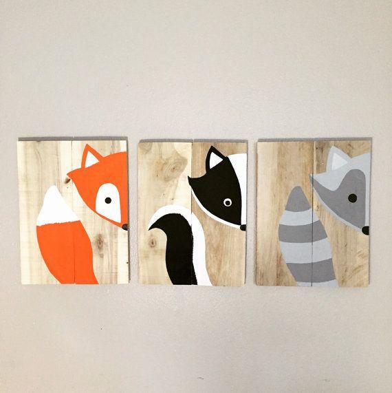 Satz von 3 Wald Tiere Wald Kindergarten von AmbersWoodenBoutique