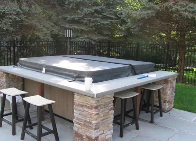 awesome idea hot tub with bar surround