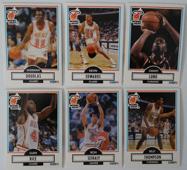 1990-91 Fleer Miami Heat Team Set Of 6 Basketball Cards #MiamiHeat