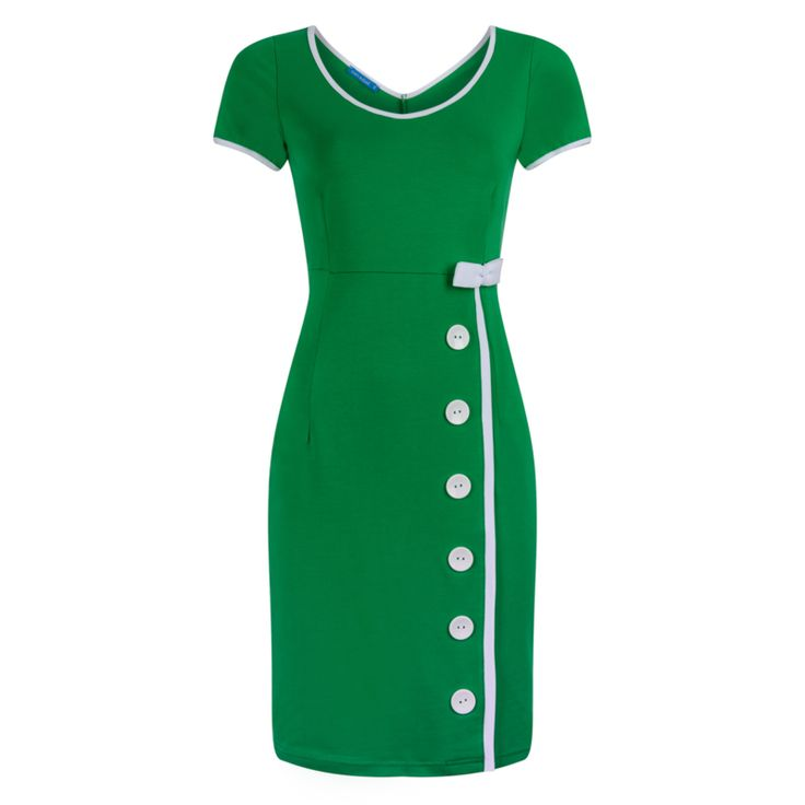 Lien & Giel Joan Green dress 1960s look white buttons and bow jaren 60 stijl jurk met witte knopen en strik