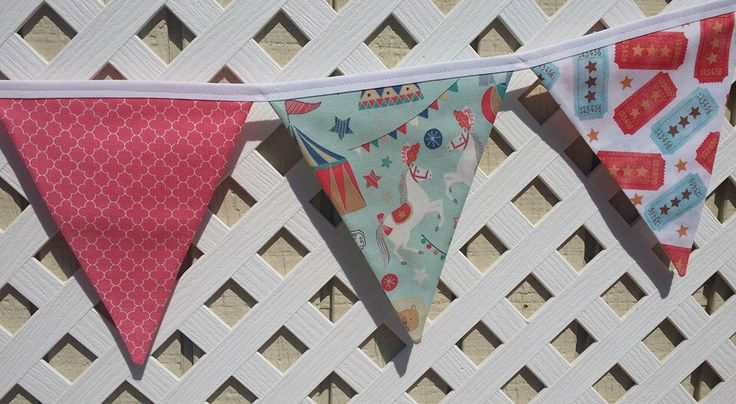 CIRCUS Birthday Banner, First Birthday Banner Circus Tent Circus Ticket Stars Vintage Circus Carnival Coral Turquoise Circus Nursery Banner by FabricBuntingAccents on Etsy https://www.etsy.com/listing/448637670/circus-birthday-banner-first-birthday