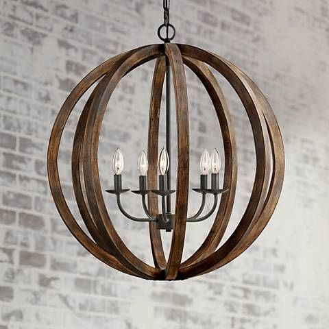 From the Feiss lighting collection, this orb chandelier features antique style, forged iron details and a rustic flair