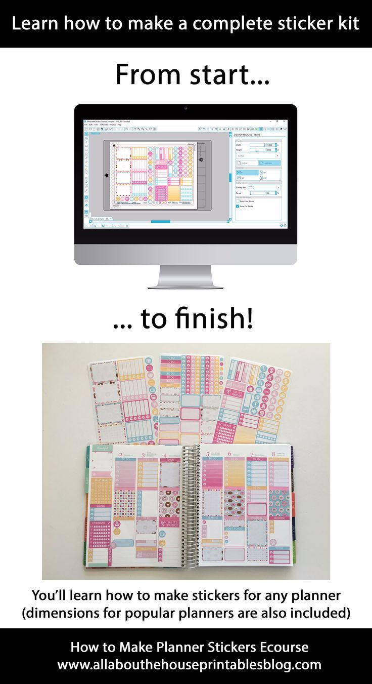 how to make a planner sticker kit tutorial silhouette studio free software without photoshop ecourse printable kiss cut blade settings erin condren happy planner full box checklist flag diy planner decorating