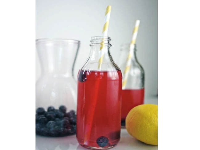 blueberry lemonade (stick a red & white or blue & white paper stripey straw for your Fourth of July celebration!)