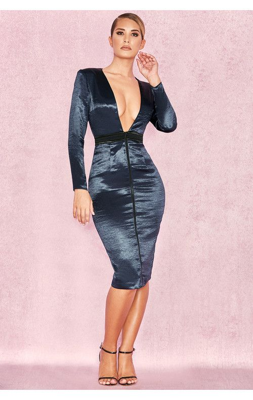 Clothing Bodycon Dresses Sidonie Midnight Blue And Black Satin