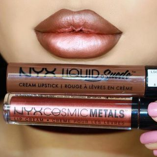 The new @nyxcosmetics @nyxukcosmetics Liquid Suede liquid lipsticks and Cosmic Metals Lip Creams are HOT FIRE  Shades worn: -Downtown Beauty liquid suede - Speed of Light Cosmic Metal Lip Cream