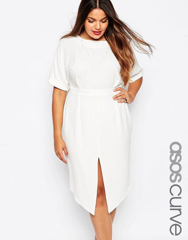 Белое платье для полных женщин – модель платья больших размеров - ASOS CURVE, цена 4 941,16 руб.