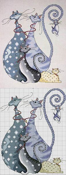 Уроки для вышивания для начинающих 4. Вышивка крестом «Коты»