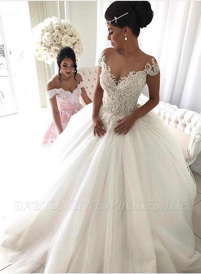 Elegantes Prinzessin Brautkleid Mit Spitze Und Tull , Hochzeitskleider Schultfre…