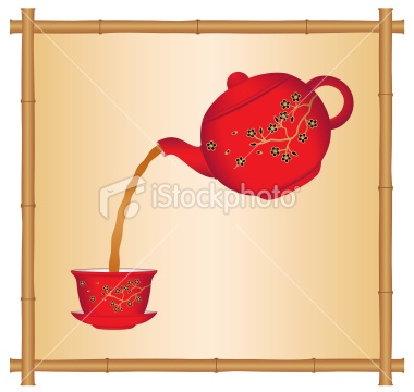 Pouring tea from a Chinese teapot Royalty Free Stock Vector Art Illustration
