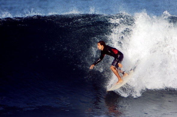 Carlos Diablos, surf instructor for Outward Bound Costa Rica, tears up the waves on the Pacific Coast.