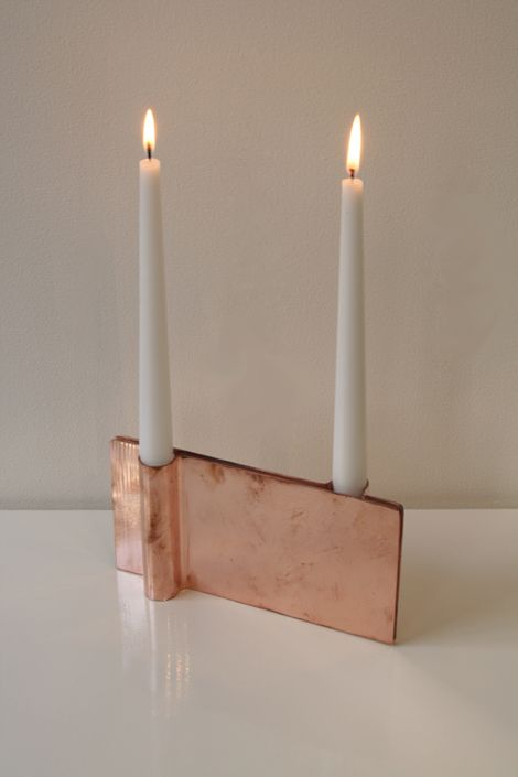 Mingardo—Folio candle holder in copper. To do this in clay would be lovely.