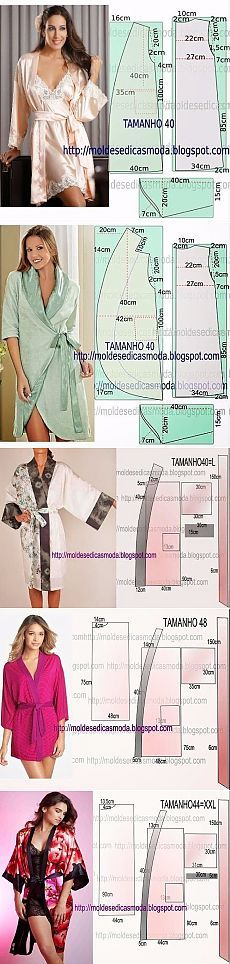 Sewing pattern diagrams. Inspiration for elegant silk dressing gowns and loungewear