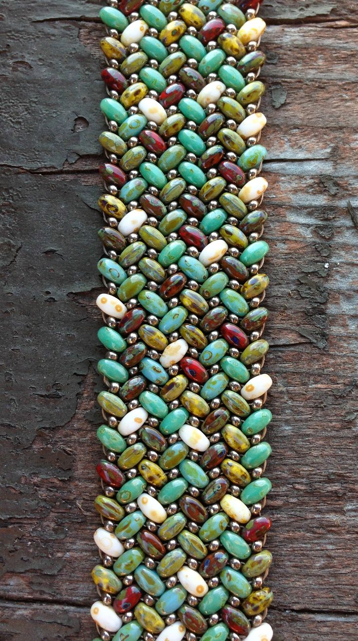 ❤ Finally mastered herringbone stitch with these beautiful Super Duo seed beads! ❤ www.beadsnthings-ny.com