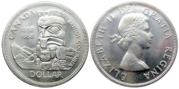 1 dollar 1958 This silver dollar, with its bold design of mountains behind a totem pole typical of Pacific coast Native Canadians, marks the centennial of British Columbia's establishment as a Crown Colony. In the early 1840s what is now British Columbia was part of the Oregon country and was controlled by the Hudson's Bay Company.
