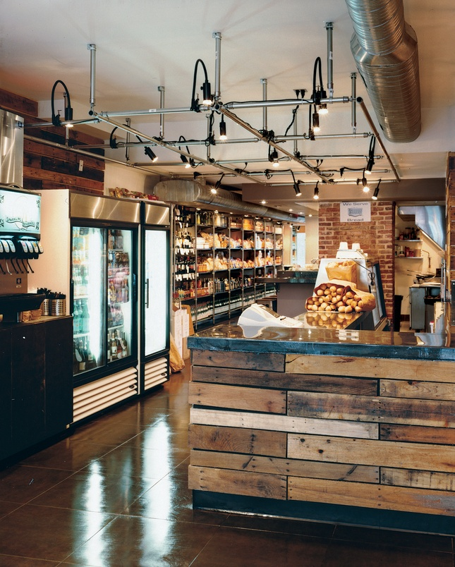 taylor gormet deli interior love the lighting grid and the reclaimed wood bar