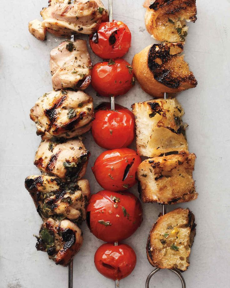 Who says kebabs are only for meat and veggies? Grilled cubes of bread soak up all the delicious flavors of the chicken, tomatoes, and marinade.