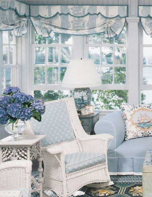 Lovely white wicker and blue.                                                                                                                                                                                 More