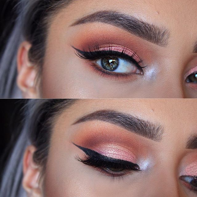 Today's eye look consists of alittle pink   Brows: @anastasiabeverlyhills medium brown brow definer  Shadows: @anastasiabeverlyhills modern Renaissance palette, realgar, vermeer  @makeupgeekcosmetics peach smoothie, deserts sand  @thebalm_cosmetics meet matt(e) trimony , Matt reed  @smoldercosmetics pink mocha on lid  Lashes: @smoldercosmetics in starry eyed
