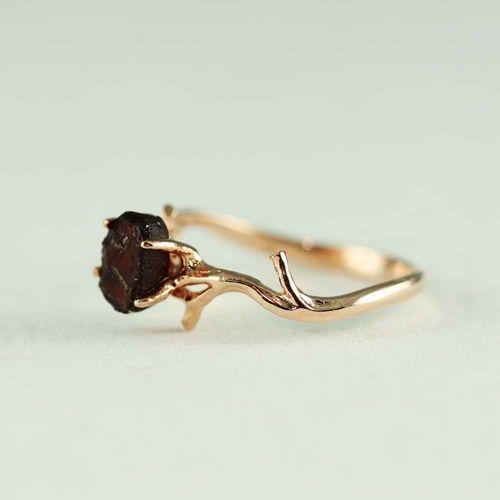 pink gold rough garnet ring
