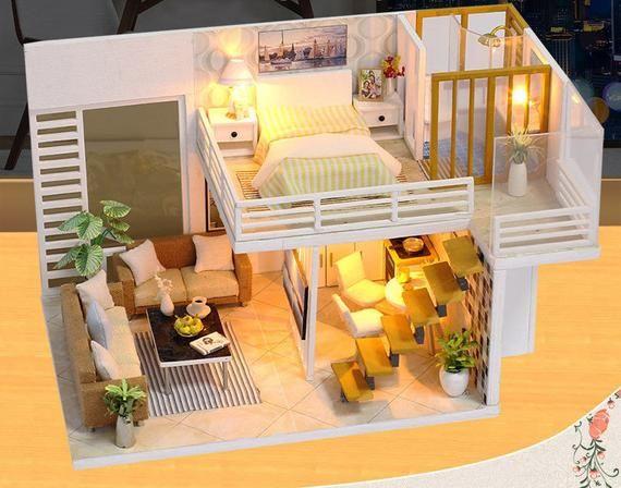 Festnight Miniature Super Mini Size Doll House Model Building Kits Wooden Furniture Toys DIY Dollhouse Girl Bedroom Simple and Elegant