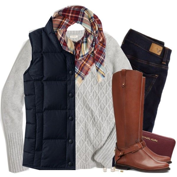Cable knit, plaid & navy down vest by steffiestaffie on Polyvore featuring polyvore, fashion, style, J.Crew, Lands' End, American Eagle Outfitters, Tory Burch and MICHAEL Michael Kors