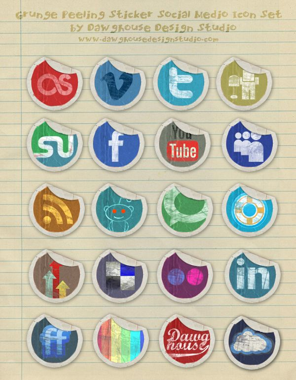 This Icon Pack is chuck full of 20 Grunge Peeling Social Media Stickers by Dawghouse Design Studio.    Each icon is in .png format sized at 128x128px with transparent backgrounds. The pack comes with a .PSD source file so that you can customize your own icons. Additionally, you can read up how to design these beautiful icons on your own.