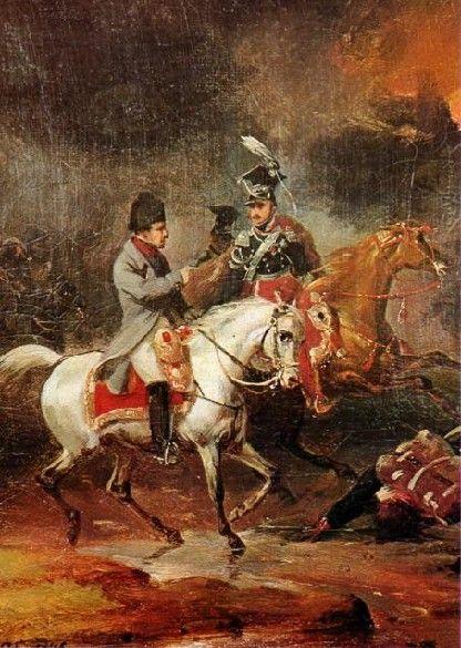 Napoléon et le maréchal Jozef Poniatowski lors de la bataille de Leipzig (appelée aussi bataille des Nations) par Charles Langlois