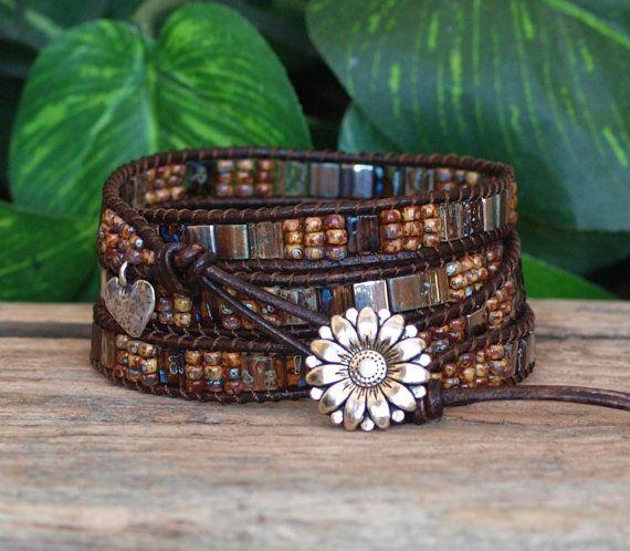 Tila Beaded Leather Wrap Bracelet Silver Brown Tila by PJsPrettys