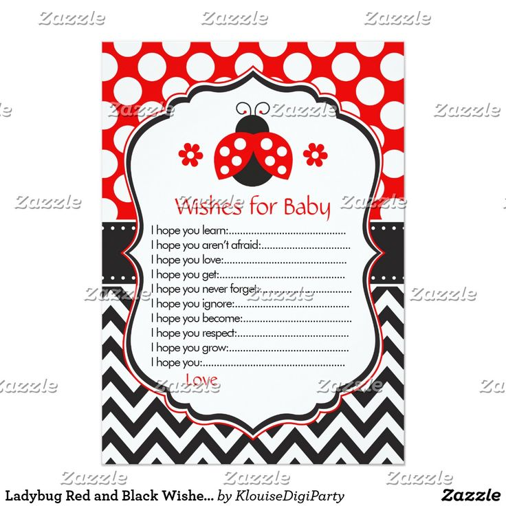 Ladybug Red and Black Wishes for Baby Advice Card