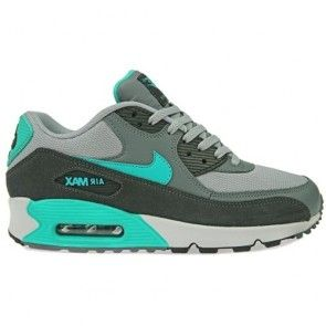 Nike Mens Air Max 90 Essential Running Shoes Wolf Grey/Hyper Jade/Cool Grey
