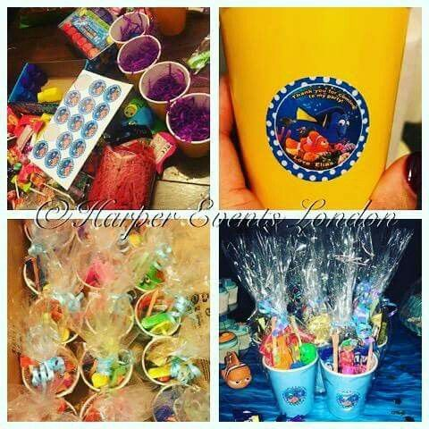 Fishy Party Cups 🐠 before and after personalised thank you #fish #partycups #partybags #thankyou #toys #gifts #yellow #blue #personalised #stickers #ribbon #nemo #dory #disney #bubbles #sweets #candy #party #kidsparty #kidspartyideas #handmade #madetoorder #crafts #diy #eventplanner #harpereventslondon.com