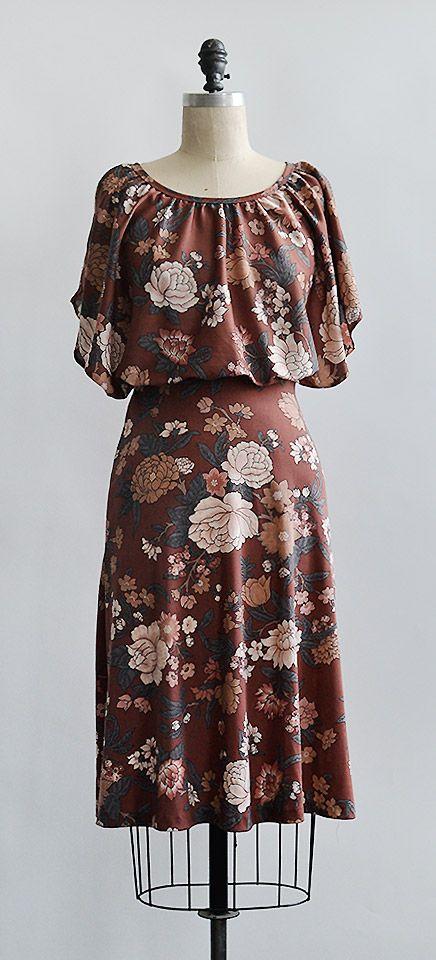 vintage 1970s dress / Lingering Persimmons Dress from Adored Vintage #1970s #70s #vintagedress