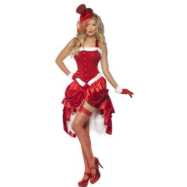funny Christmas Costumes Halter Corset Christmas Dress Santa (£20) ❤ liked on Polyvore featuring costumes, red, red costumes, womens costumes, white costume, funny costumes and ladies costumes