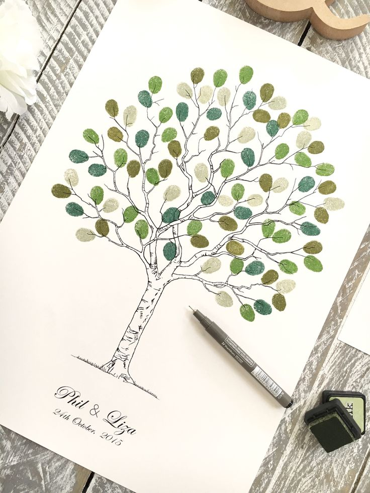 """Wedding tree - fingerprint guest book. A3 size suitable for 40-80 guests. """"Contemporary tree"""" design by www.daisywood.com.au"""