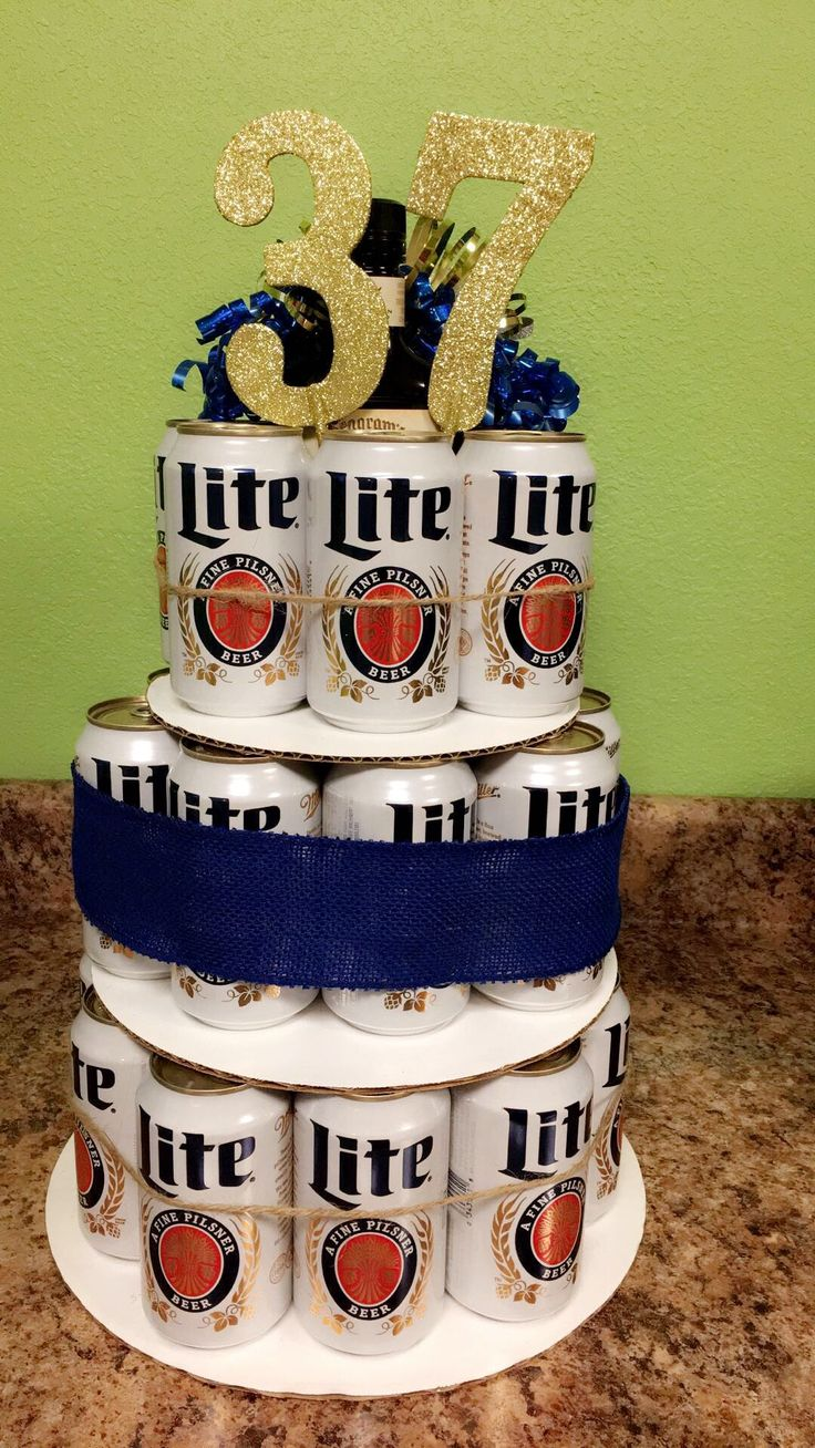 Beer cake Miller Lite! 37th birthday. I made this cake for my boyfriend's surprise party.