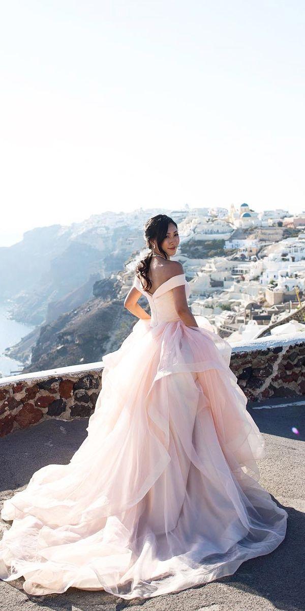 pink blush peach off shoulder wedding dresses 6