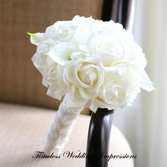 All-White Bridal Bouquet! Roses and Calla Lilies w/stems wrapped in white silk ribbon.