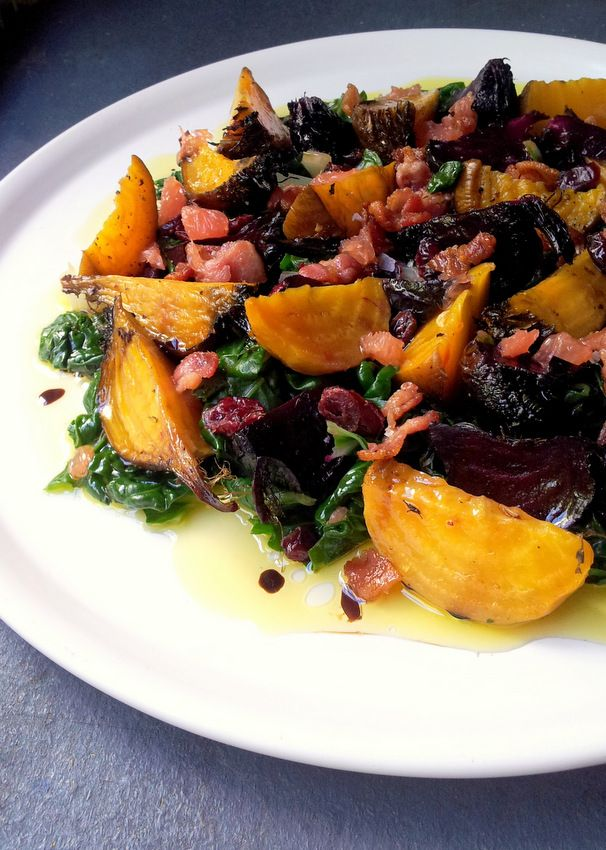 Roasted Golden Beetroot with Spinach, Bacon & Ruby Grapefruit | Scrumptious South Africa