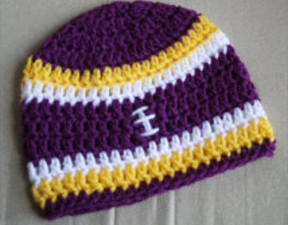 bdeb6efc51867d Crocheted Minnesota Vikings hat beanie by CrochetedByKristina | crochet |  Crochet football hat, Crochet football, Crochet viking hat
