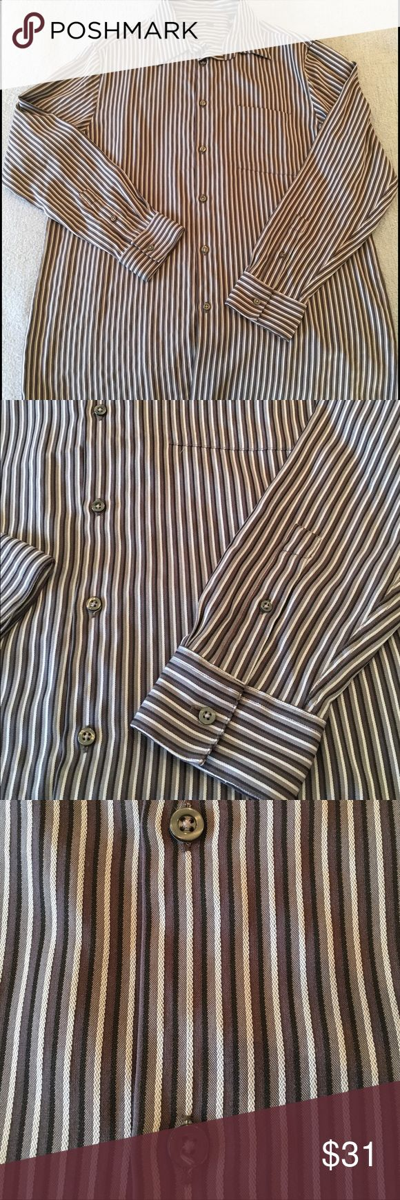 . Men's Shirt Alfani Brand, purchased at Macy's. Stepping up a casual look with jeans or nicer with khakis.   In very good used condition, no stains or rips. Smoke free and pet free home. Alfani Tops Button Down Shirts