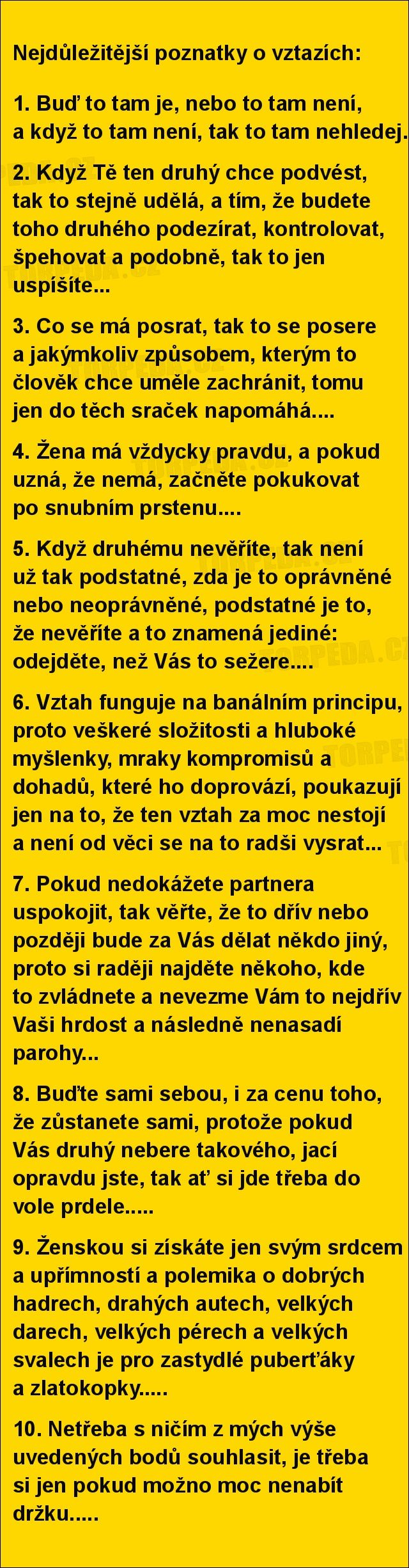 Nejdůležitější poznatky o vztazích... | torpeda.cz - vtipné obrázky, vtipy a videa