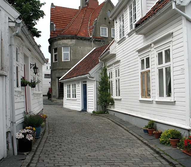 Stavanger, Norway.  I love the white buildings along the south coast.