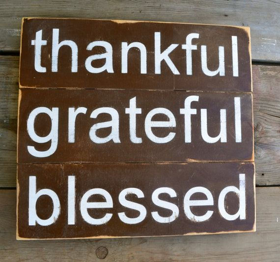 hand painted wood sign brown and white fall decor housewarming porch signs home decor wood paneled thankful grateful blessed on Etsy, $40.00