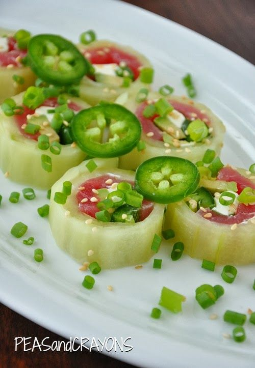 Cucumber Wrapped Sushi Rolls!