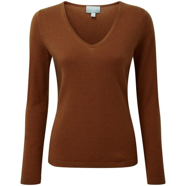 Pure Collection Jaycee V Neck Jumper, Rich Bronze (3 170 UAH) ❤ liked on Polyvore featuring tops, sweaters, jumper, brown tops, jumpers sweaters, v neck sweater, long sleeve tops and long sleeve v neck sweater