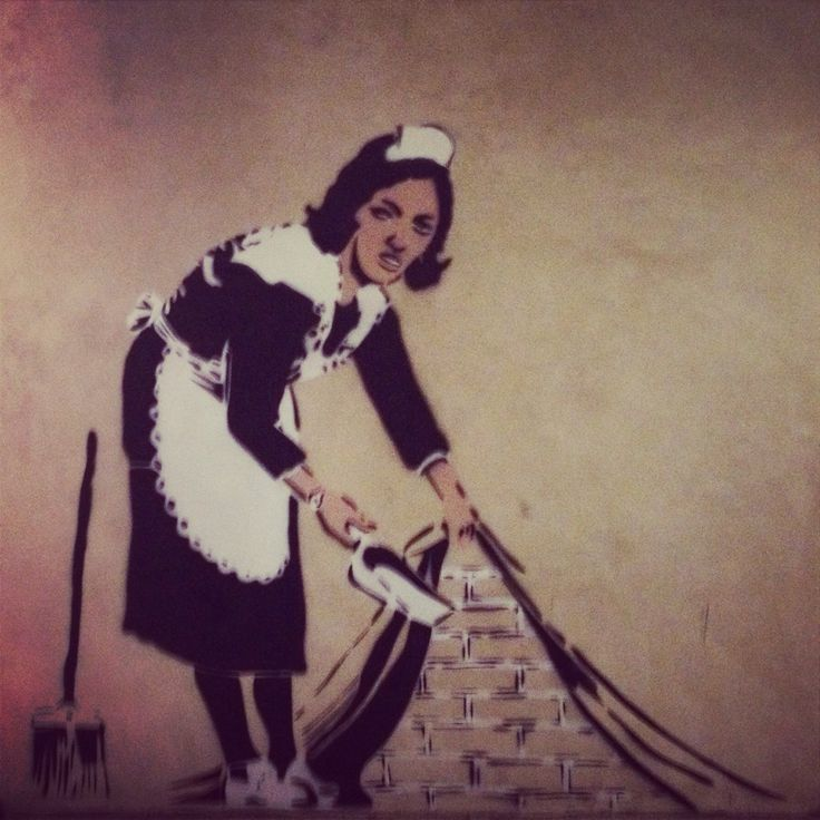 Banksy graffiti art. Wall stencil