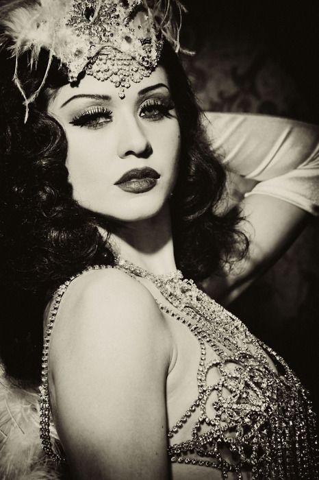 Bachelorette party idea: Play dress up and have a vintage burlesque photo shoot.
