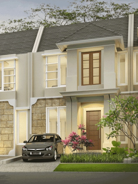 Desain rumah split level 2 lantai dengan 3 kamar tidur bergaya modern tropis.
